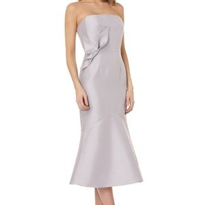 Kay Unger Strapless Flower Cocktail Midi Dress